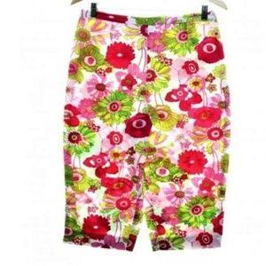 Flower Power Stretch Capri Pants Size 10 35x20